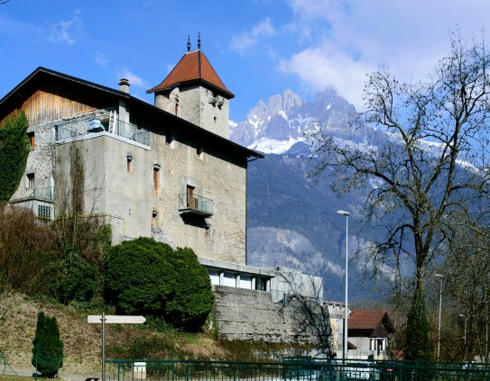 The Chateau des Rubins and Aiguille de Varan from the right bank of the Torrent de Sallanches Photograph by David Hill taken 11 March 2015, 14.31 GMT Not quite from the same viewpoint as Ruskin, but from across the stream, offering a less obstructed view. Click on image to enlarge