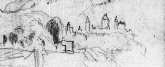 J.M.W.Turner Sketches in the Arve Valley (detail of towers at Sallanches), 1836 Pencil on paper, page width 113 mm From the Val d'Aosta sketchbook, Tate Britain, London, TB CCXCIII 28a ) Image courtesy of Tate; to see the original image in the online catalogue of the Turner Bequest click on the following link, then press your browser's 'back' button to return to this page: http://www.tate.org.uk/art/research-publications/jmw-turner/joseph-mallord-william-turner-five-sketches-in-the-arve-valley-at-cluses-and-sallanches-r1167978