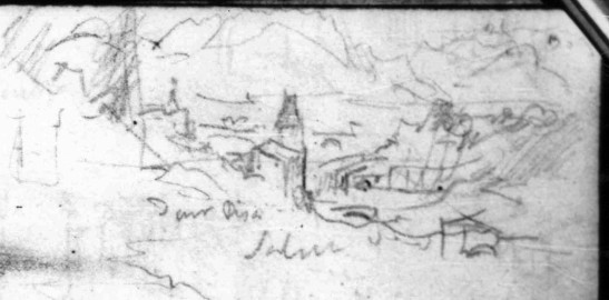 J.M.W.Turner Two Sketches; The Head of Lake Geneva from near Lausanne; From above Sallanches in the Arve Valley to the Aiguille de Varan and Mont Blanc (detail of sketch of Sallanches), 1836 Pencil on paper, page width 113 mm From the Val d'Aosta sketchbook, Tate Britain, London, TB CCXCIII 62 detail From above the Chateau des Rubins, looking from the entrance to the Gorges de Levaud to Sallanches and the Aiguille de Varan. Image courtesy of Tate; to see the original image in the online catalogue of the Turner Bequest click on the following link, then press your browser's 'back' button to return to this page: http://www.tate.org.uk/art/research-publications/jmw-turner/joseph-mallord-william-turner-two-sketches-the-head-of-lake-geneva-from-near-lausanne-from-r1168042