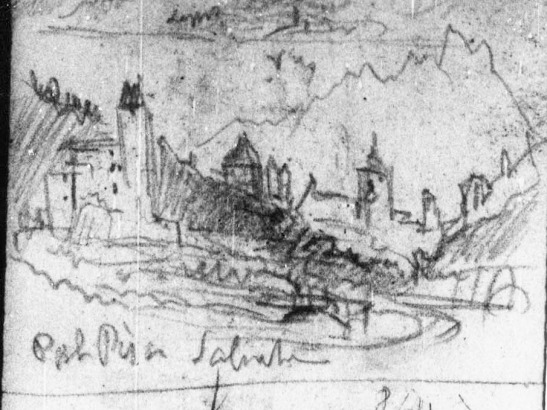 J.M.W.Turner Four Sketches: Arras; Storm in the ?Arve Valley; From above Sallanches; and From Pré St Didier in the Val d'Aosta (detail of sketch of Sallanches), 1836 Pencil on paper, page width 113 mm From the Val d'Aosta sketchbook, Tate Britain, London, TB CCXCIII 70a detail From opposite the Chateau des Rubins, scanning across the Tour de Disonche with a glimpse of the Tour de la Frasse beyond to the right, to the Church of St Jacques and the Aiguille de Varan. Turner routinely quartered the compass at his major sites, so as to be able to mentally rotate the main co-ordinates of his geography. The viewpoint is now occupied by the new Centre Levaud Sports Hall, though Turner compresses his elements together somewhat. My photograph is somewhat to the left of the centre. Image courtesy of Tate; to see the original image in the online catalogue of the Turner Bequest click on the following link, then press your browser's 'back' button to return to this page: http://www.tate.org.uk/art/research-publications/jmw-turner/joseph-mallord-william-turner-four-sketches-arras-storm-in-the-arve-valley-from-above-r1144717