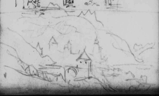 J.M.W.Turner Two Sketches: The Tomb of Thomas Balsall in the Sanctuary of Holy Trinity Church, Stratford-Upon-Avon; A Town in an Alpine Valley (detail of the latter, now identified as Sallanches), 1836 Pencil on paper, page width 113 mm From the Val d'Aosta sketchbook, Tate Britain, London, TB CCXCIII 81 detail In my recent listing of these sketches for the online catalogue of the Turner Bequest at the Tate (see below) I tentatively suggested that this might show Sallanches. This can now be confirmed. The towers of de Disonche, de la Frasse and the church are seen before the Aiguille de Varan. From their angle we can work out that Turner's viewpoint is a little below that of f.70a, above, but I could not confirm the identity of the foreground tower, nor that to the left of the Tour de Disonche. Image courtesy of Tate; to see the original image in the online catalogue of the Turner Bequest click on the following link, then press your browser's 'back' button to return to this page: http://www.tate.org.uk/art/research-publications/jmw-turner/joseph-mallord-william-turner-two-sketches-the-tomb-of-thomas-balsall-in-the-sanctuary-of-r1144738