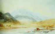 J.M.W.Turner Mont Blanc from the bridge at St Martin near Sallanches, 1836 Watercolour, 7 3/4 x 12 1/2 ins, 200 x 320 mm Private Collection This watercolour was called 'Wetterhorn from near Rosenlaui', when offered at Phillips' Phillips 18 April 1988 (no.35) but reidentified as Mont Blanc when exhibited at Aosta in 200 no.12. It records the classic view of Mont Blanc from the bridge at St Martin. Turner had sketched and painted this view on his first visit to the site in 1802, so the subject was well rehearsed even by him. Nonetheless, in 1836 it must have been obligatory to resketch it in the presence of his companion H.A.J.Munro of Novar. Munro must have been astonished at how simply Turner could call up the pupil-contracting brightness of the contre-jour mountain. Photograph courtesy private collection.