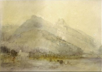 J.M.W.Turner ?Looking down the river Arve to Sallanches at the left and St Martin bridge and church at the right, 1836 Watercolour on off-white white wove paper, a little discoloured, 9 x 12 1/2 ins, 225 x 315 mm Private Collection This watercolour was called 'An Alpine River Landscape', when offered at Christie's, London - 12 July 1988 No. 194. In notes, I have suggested that the subject might be a view down the Arve o Sallanches at the left and St Martin bridge and church at the right. The distant mountain profiles correspond in general terms, but I am unsure about the view evidently up to Sallanches at the left. Photograph courtesy private collection.