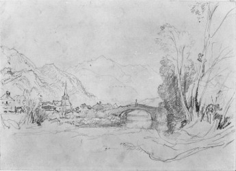 J.M.W.Turner Bridge of Saint Martin, near Chamonix, 1836 Pencil on paper, 9 x 12 5/8 in. (22.9 x 32.1 cm.) The Huntington Library, Art Collections, and Botanical Gardens, San Marino, California, USA. Gilbert Davis Collection. Object Number: 59.55.1279 Showing the view looking up the River Arve, with the debouchement of the Torrent de Sallanches in the foreground right, to the bridge of St Martin, and Mont Blanc in the distance. The summit of Mont Blanc must have been veiled by cloud, for it is not visible in this sketch. This sketch [and that following} was owned by John Ruskin, and exhibited by him at the Fine Art Society in London in 1878 no.120 as 'Mont Blanc. Over the bridge of St Martin's. The old Hotel du Mont Blanc on the left. St Martin's Bridge with the cross on its keystone has been principal in Turner's mind in both.. sketches. There will doubtless soon be an iron one instead – with no such useless decoration; but probably a bill pasted on it of the Sunday trains to Chamouni at reduced fares.' It is very useful to have Ruskin's specific identification of the hotel. Image courtesy of the Huntington Library. To see the image in the Huntington's own online catalogue click on the following link, then press your browser's 'back' button to return to this page. http://emuseum.huntington.org/view/objects/asitem/People$004097/3/title-asc?t:state:flow=03fd85b0-c630-456a-8089-1eff5fdd67cc