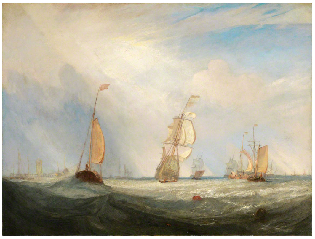J.M.W.Turner RA Helvoetsluys : the City of Utrecht, 64, going to Sea, exhibited  Royal Academy, 1832 no.284 Oil on canvas, 914 x 1220 mm, 36 x 48 ins Fuji Art Museum, Tokyo, Japan Image courtesy of Fuji Art Museum To see this image on the Fiji Art Museum's own website, click on the following link, and then use your browser's 'back' button to return to this page: http://www.fujibi.or.jp/en/our-collection/profile-of-works.html?work_id=428 Click on image to enlarge.