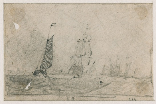 John Sell Cotman Study after JMW Turner's painting 'Helvoetsluys : the City of Utrecht, 64, going to Sea', exh RA 1832 no.284. Called 'Shipping Off Yarmouth', 1832 Graphite on thin, off-white [Kitson 1926 says grey] wove paper, somewhat darkened and glue-stained in the corners, 93 x 142 mm, 3 5/8 x 5 5/8 ins, holed towards the upper and lower left, where previously glued down. Inscribed 'S H', lower edge centre and '284' lower right. Leeds Art Gallery , LEEAG.1949.0009.0067 Photograph courtesy of Leeds Art Galleries Click on image to enlarge