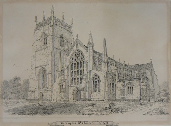 J Johnson Terrington St Clement, c.1840 Lithograph on paper, 216 x 313 mm Norwich Castle Museum, NWHCM : 1954.138 Image courtesy of Norwich Museums Collections To view this work in Norfolk Museums Collections' own online catalogue click on the following link then use your browser's 'back' button to return to this page: http://www.norfolkmuseumscollections.org/collections/objects/424351770.html/#!/?q=johnson%2Bterrington This is perhaps the best architectural renditiojn of Terrington St Clement, but was made some time after the 1829 restoration. It agrees with the existing structure more than Cotman.