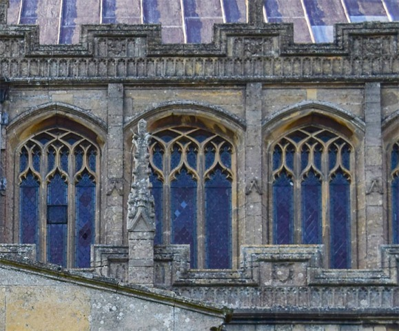 Terrington St Clement's Church, Norfolk, south porch, detail of crenulations Photograph by David Hill taken 15 August 2015, 17.50 GMT Compare the detail in Cotman's etching