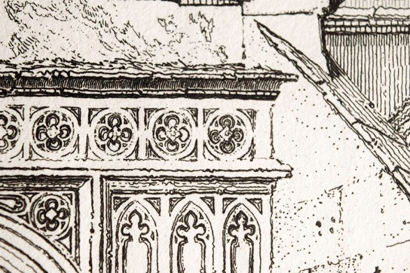 John Sell Cotman (1782 – 1842) Terrington St Clement's Church, Norfolk, c.1812-17 Etching – detail of roundels above portal Photograph by David Hill from an example in the author's collection.
