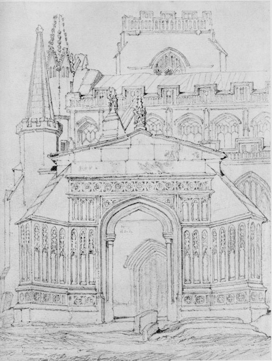 ?After John Sell Cotman (1782 – 1842) Terrington St Clement's Church, Norfolk, c.1812-17 Graphite on paper, 336 x 254 mm Untraced Image scanned from Walker's Gallery catalogue, 1926 This drawing is too mechanical to be by Cotman. It might well have been traced from the etching, since the images are exactly the same size. It would be interesting to check the registration..