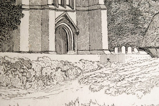 John Sell Cotman (1782 – 1842) Tower of Tilney All Saints Church, Norfolk, c.1812-17 Etching – detail of artist sketching Photograph by David Hill from an example in the author's collection.