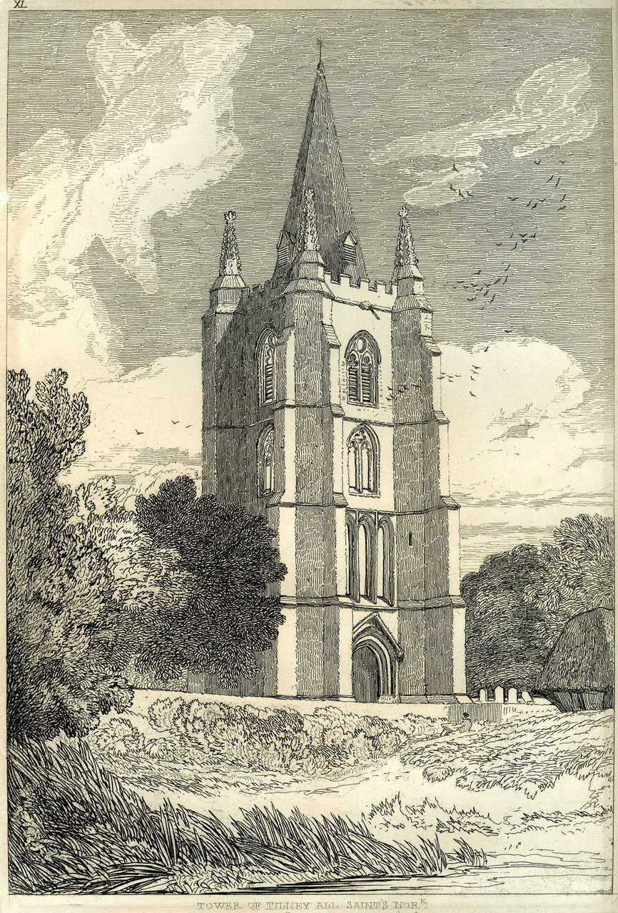 John Sell Cotman (1782 – 1842) Tower of Tilney All Saints Church, Norfolk, c.1812-17 Etching: Image 287 x 194 on plate 304 x 200 mm Norwich Castle Museum, NWHCM : 1954.138 Image courtesy of Norwich Museums Collections To view this work in Norfolk Museums Collections' own online catalogue click on the following link then use your browser's 'back' button to return to this page: http://www.norfolkmuseumscollections.org/collections/objects/1620549822.html/#!/?q=cotman%2Btilney This etching was entirely etched and proofed by Cotman himself. Cotman's etchings are of particular value since they were entirely executed by the artist, and are works of art in themselves, rather than copies. In this example Cotman rethinks the tonal structure of the composition, and develops a fascinatingly elaborate range of calligraphy.