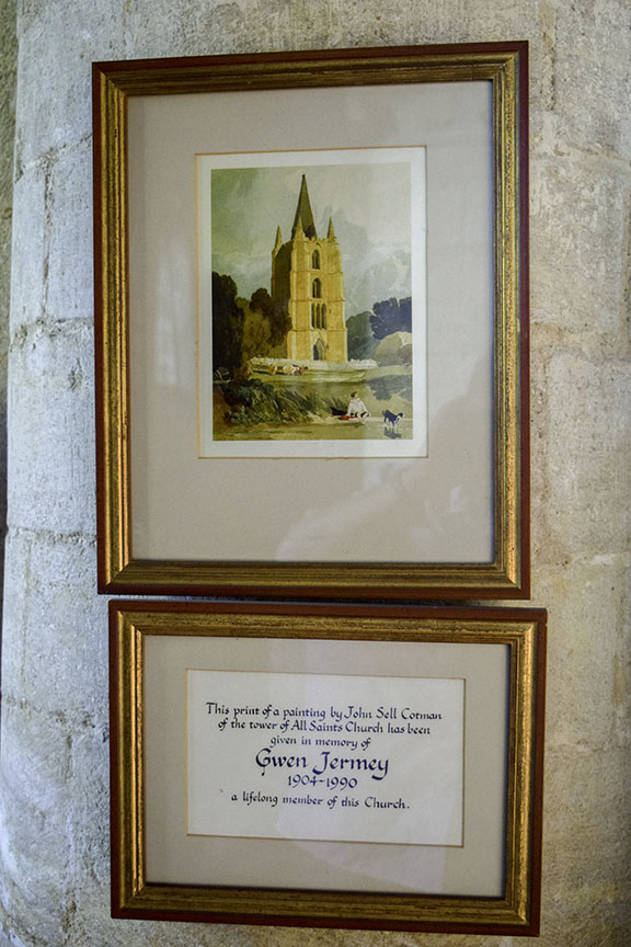 Interior of Tilney All Saints, Norfolk Photograph by David Hill taken 15 August 2015, 17.10 GMT Column in the south aisle, with a framed reproduction of Cotman's San Francisco watercolour.