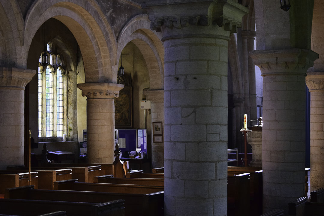Interior of Tilney All Saints, Norfolk Photograph by David Hill taken 15 August 2015, 17.17 GMT From the north aisle. Note the reproduction of Cotman's watercolour hanging on the far centre column.
