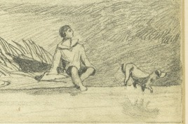 After John Sell Cotman (1782 – 1842) Tower of Tilney All Saints Church, Norfolk, c.1813-17 Graphite on paper - detail of figures lower right Norwich Castle Museum, NWHCM : 1966.749.24 : F Image courtesy of Norwich Museums Collections