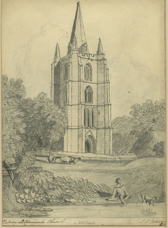 After John Sell Cotman (1782 – 1842) Tower of Tilney All Saints Church, Norfolk, c.1813-17 Graphite on paper, 292 x 211 mm Norwich Castle Museum, NWHCM : 1966.749.24 : F Image courtesy of Norwich Museums Collections To view this work in Norfolk Museums Collections' own online catalogue click on the following link then use your browser's 'back' button to return to this page: http://www.norfolkmuseumscollections.org/collections/objects/476261585.html/#!/?q=cotman%2Btilney This drawing is too mechanical to be by Cotman. It was probably copied (or traced) from the watercolour by an assistant preparatory to Cotman making an etching from it.