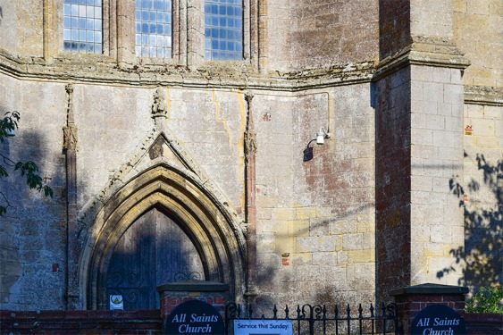 Tower of Tilney All Saints, Norfolk: detail of west portal Photograph by David Hill taken 15 August 2015, 17.02 GMT Compare the detail in Cotman's watercolour, etching and pencil drawing.