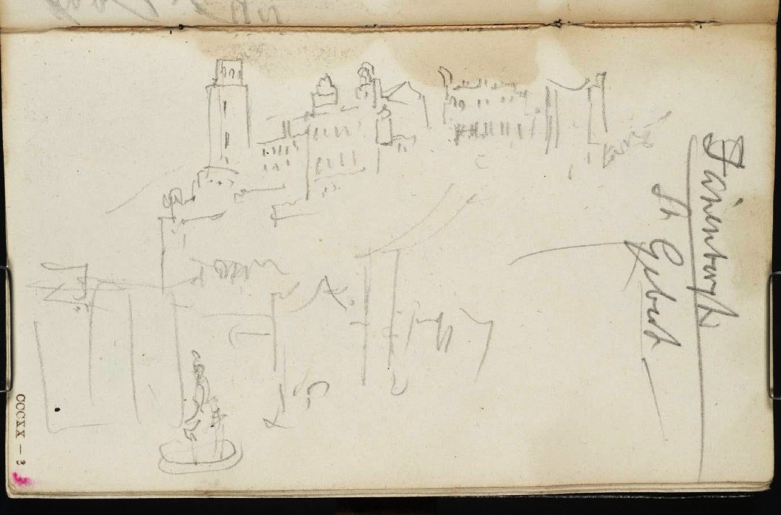 J M W Turner Heidelberg Castle and the Cornmarket from Turner's Room in the Prinz Carl Hotel From the Rotterdam to Venice sketchbook, Tate, London, D32267, Turner Bequest CCCXX 3 as 'Fountain, with Buildings on Hill - Faninbergh. St Gebert [Turner]' Photo courtesy of Tate To view this image in Tate's own catalogue of the Turner bequest, click on the following link, and use your browser's 'back' button to return to this page. http://www.tate.org.uk/art/artworks/turner-fountain-with-buildings-on-hill-faninbergh-st-gebert-turner-d32267