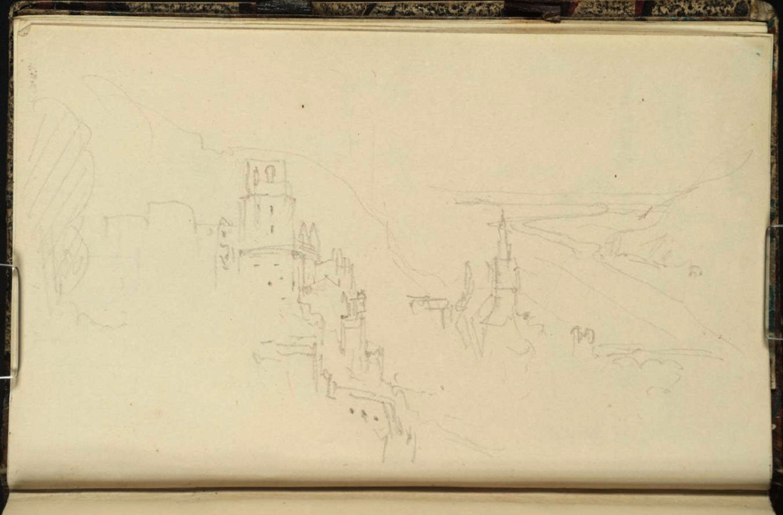 J M W Turner Heidelberg Castle from above and beyond the north end of the Garden Terrace, 1833 From the Heidelberg up to Salzburg sketchbook, Tate, London, D29829; Turner Bequest CCXCVIII 8a as 'Heidelberg: The Castle and Town from the East' Photo courtesy of Tate To view this image in Tate's own catalogue of the Turner bequest, click on the following link, and use your browser's 'back' button to return to this page.  http://www.tate.org.uk/art/artworks/turner-heidelberg-the-castle-and-town-from-the-east-d29829