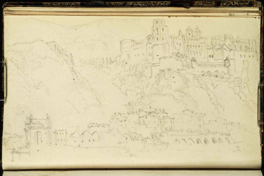 J M W Turner Heidelberg Castle and Palais Weimar from upstream of the old bridge, 1833 From the Heidelberg up to Salzburg sketchbook, Tate, London, D29845; Turner Bequest CCXCVIII 16a as 'Heidelberg: The Karlstor, Palais Weimar and Castle from the Hirschgasse' Photo courtesy of Tate To view this image in Tate's own catalogue of the Turner bequest, click on the following link, and use your browser's 'back' button to return to this page.  http://www.tate.org.uk/art/artworks/turner-heidelberg-the-karlstor-palais-weimar-and-castle-from-the-hirschgasse-d29845
