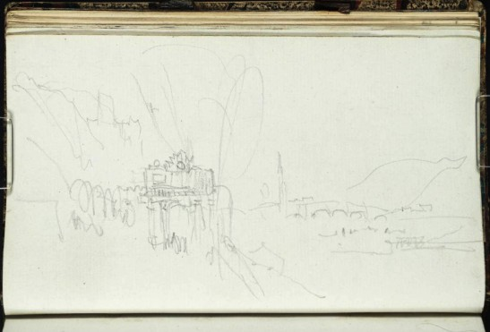 J M W Turner Heidelberg, the Karlstor, Castle and Bridge from the left bank of the Neckar, 1833 From the Heidelberg up to Salzburg sketchbook, Tate, London, D29863; Turner Bequest CCXCVIII 25a as 'Heidelberg: The Karlstor and View down the Neckar' Turner finished his survey of Heidelberg with a group of sketches attempting to find a view on the left bank in the vicinity of the Karlstor where he might include the gate, town castle and bridge. He succeeded to a degree, but with the arrival of the railway station and the busy road, few visitors attempt to make anything of the locality today. Photo courtesy of Tate To view this image in Tate's own catalogue of the Turner bequest, click on the following link, and use your browser's 'back' button to return to this page. http://www.tate.org.uk/art/artworks/turner-heidelberg-the-karlstor-and-view-down-the-neckar-d29863