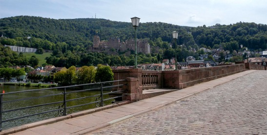 Heidelberg Castle from the Old Bridge Photograph by David Hill taken 27 August 2015, 11.29 GMT From the foot of the statue of Minerva