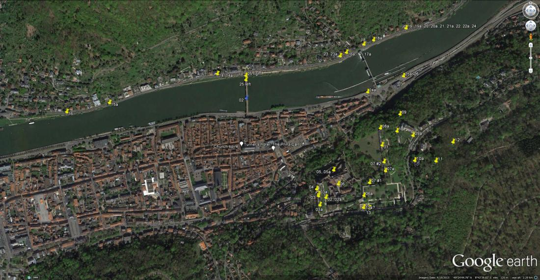 Google Earth Aerial View of Heidelberg, marked with Turner's 1833 viewpoints.  Click on the image to open full-size, and use your browser's 'back' button to return to this page.