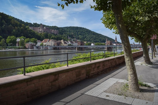 Heidelberg from the right bank of the Neckar Photograph by David Hill taken 27 August 2015, 09.23 GMT The right bank of the Neckar has been developed into a splendid tree-shaded promenade. Even Turner might have been surprised at the energy expenditure of contemporary German promenaders!