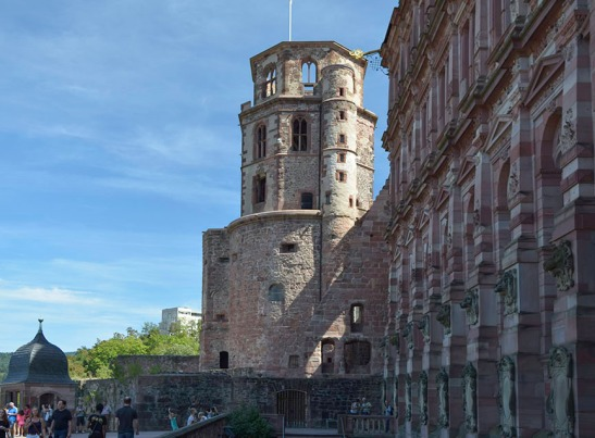 The North Terrace of Heidelberg Castle, looking east Photograph by David Hill taken 26 August 2015, 11.20, GMT Turner made his way from the west terrace through the courtyard and onto the north terrace where he took views looking both east up the Neckar as here, and in the opposite direction.