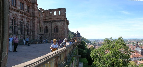 The North Terrace of Heidelberg Castle, looking west Photograph by David Hill taken 26 August 2015, 11.32 GMT Turner's synthetic sketching method allowed him to cram into his page a much more extensive field of view than can easily be accomplished in that format with a camera.