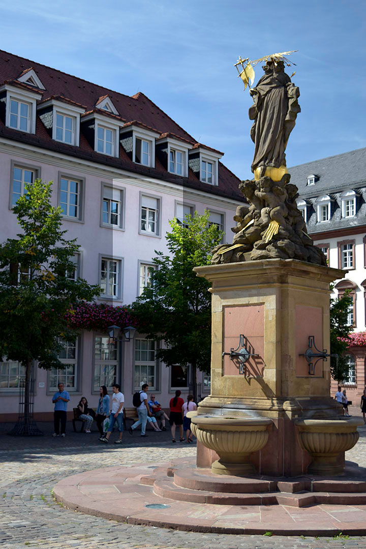 The Cornmarket, Heidelberg, looking towards Turner's room in the Prinz Carl Hotel Photograph by David Hill taken 26 August 2015, 13.02 GMT This position of Turner's room is highlighted on the modern building.