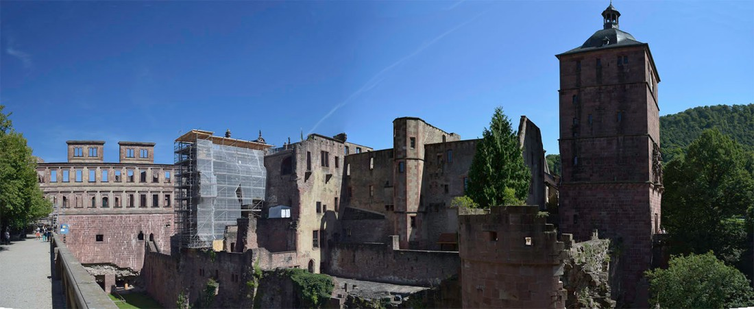 Heidelberg Castle from the West Terrace Photograph by David Hill taken 26 August 2015, 10.10 GMT Turner began his systematic exploration of the Heidelberg on the west terrace of the castle. Here he makes a two part panorama of the whole west range. Most visitors begin their exploration of the castle precincts on this spot.