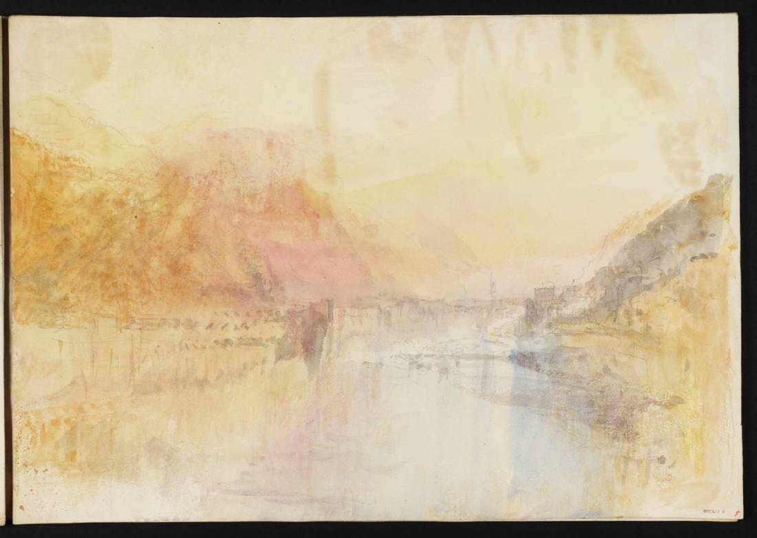 J M W Turner Heidelberg from upstream, sunset, 1844 Graphite and watercolour on paper, 229 x 329 mm From the Heidelberg sketchbook, Tate, London, D35224; Turner Bequest CCCLII 5 as 'Heidelberg from the Neckar Shore close to the Hirschgasse'. This sketch is the second of three that Turner made in 1844 recording the advance of sunset at intervals from viewpoints upstream of the castle and bridge. Here he is further upstream than in f.18 (above), and at a later hour, with the sun now setting, and casting its characteristic gold and red tones on the castle and its wooded slopes. Finding a view from this aspect had been a priority for Turner on his first visit in 1833, and in this study he returned to close to the viewpoint of an earlier pencil sketch TB CCXCVIII 22. Photo courtesy of Tate To view this image in Tate's own catalogue of the Turner bequest, click on the following link, and use your browser's 'back' button to return to this page. http://www.tate.org.uk/art/artworks/turner-heidelberg-from-the-neckar-shore-close-to-the-hirschgasse-d35224