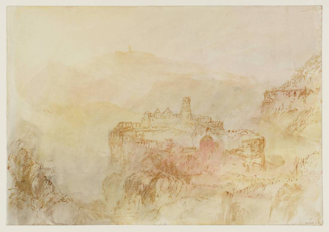 J M W Turner Heidelberg Castle from the South West, 1844 Graphite and watercolour on paper, 229 x 329 mm From the Heidelberg sketchbook, Tate, London, D35228; Turner Bequest CCCLII 8 as 'Heidelberg from the South' This is the second of two studies of the castle as seen from the south-west. The sun is getting round to the west, and the air in the valley is filled with warm, dissolving light. One peculiarity of both sketches is that the architectural detail of the castle is vague and one respect rather inaccurate. To the left of the octagonal tower we can see (correctly) the Renaissance gables of the Friedrich building: But to the left of that should be the long range of the Englischer Hof, leading to the Dicker Turm. This has been compressed by Turner. It seems very likely that he could not actually see the whole castle. Nowadays we do at least have the wonders of virtuality (see below). Photo courtesy of Tate To view this image in Tate's own catalogue of the Turner bequest, click on the following link, and use your browser's 'back' button to return to this page. http://www.tate.org.uk/art/artworks/turner-heidelberg-from-the-south-d35228
