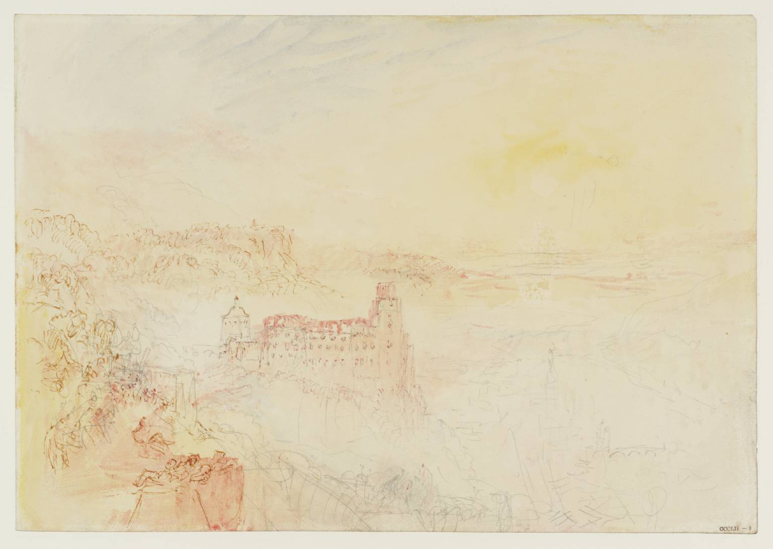 J M W Turner Heidelberg Castle from the East, 1844 Graphite and watercolour on paper, 229 x 329 mm From the Heidelberg sketchbook, Tate, London, D35229; Turner Bequest CCCLII 9 as 'Heidelberg from the East' Having already sketched in pencil the sunset from the garden terrace, here he sets it down in colour. His viewpoint is actually some way above the terrace itself on the road. It seems to have been a popular vantage point to judge from the indications of figures in this sketch. Sadly, once again there is nothing now to be seen from here but trees. Photo courtesy of Tate To view this image in Tate's own catalogue of the Turner bequest, click on the following link, and use your browser's 'back' button to return to this page. http://www.tate.org.uk/art/artworks/turner-heidelberg-from-the-east-d35229