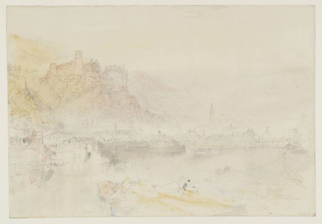 J M W Turner Heidelberg from upstream, morning, 1844 Graphite and watercolour on paper, 229 x 329 mm From the Heidelberg sketchbook, Tate, London, D35231; Turner Bequest CCCLII 11 as 'Heidelberg from the Hirschgasse' This sketch records morning light from the left, although the colours are soft and muted. Turner generally rose early to see effects of sunrise, but in August at Heidelberg the sun does not illuminate the castle till quite some while after rising. The river here flows from the north east, so the sun rises along that line for a month or so either side of the summer solstice. The views from upstream were one of his priorities in his sketches of 1833. In this he returns close to a viewpoint of one of those, TB CCCXCVIII, 18a.  Photo courtesy of Tate To view this image in Tate's own catalogue of the Turner bequest, click on the following link, and use your browser's 'back' button to return to this page. http://www.tate.org.uk/art/artworks/turner-heidelberg-from-the-hirschgasse-d35231