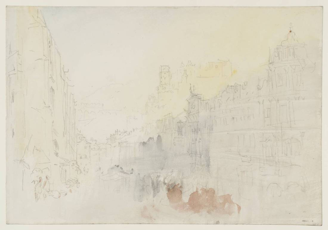 J M W Turner View along the Hauptstrasse, Heidelberg, 1844 Graphite and watercolour on paper, 229 x 329 mm From the Heidelberg sketchbook, Tate, London, D35232; Turner Bequest CCCLII 12 as 'View along the Hauptstrasse, Heidelberg' This is an unusual subject for Turner, recording a street scene in the town, rather than a major prospect. Here we are looking along the main street with the walls of the Heiliggeistkirche on the left, the castle seen over the rooftops in the centre, and the buildings on the south side of the Hauptstrasse culminating in the elaborate Renaissance façade of the Hotel Ritter to the right. As is often the case at this stage in his career Turner has synthesised a few viewpoints in this sketch. It is impossible to see the castle as clearly as this except from further down the street, and the angles on the Hotel Ritter and the church are incompatible without shifting position at least once. My photograph is likewise stitched together from three separate images. We can, however, be sure that Turner did made this sketch from the motif. Modern scholars trend towards Turner making his colour studies in his hotel or in the studio after the event, from pencil sketches or from memory. There is no comparable pencil sketch of this, and the phenomenal aspects of the subject, of late afternoon light flooding weakly into a street still cool and wet from rain is vividly given.  Photo courtesy of Tate To view this image in Tate's own catalogue of the Turner bequest, click on the following link, and use your browser's 'back' button to return to this page. http://www.tate.org.uk/art/artworks/turner-view-along-the-hauptstrasse-heidelberg-d35232