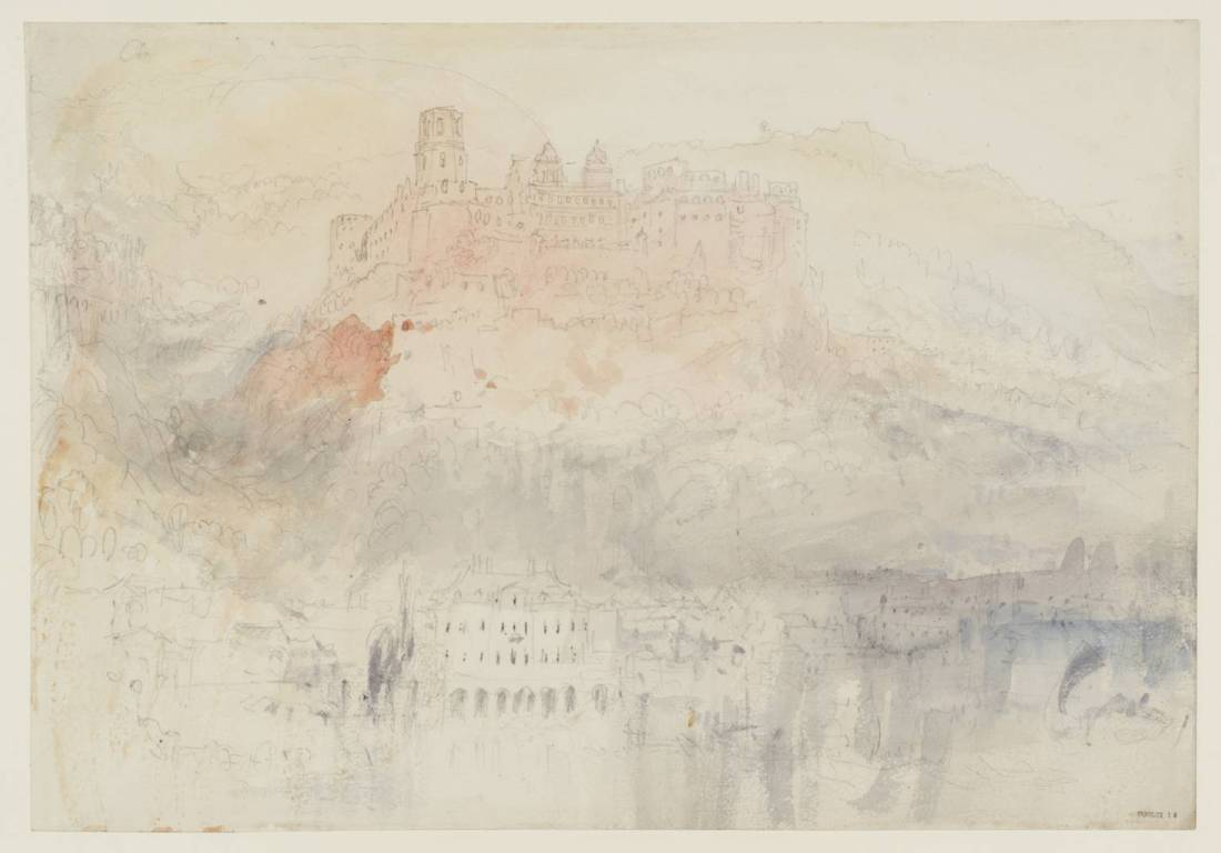 J M W Turner Heidelberg from upstream, fading light, 1844 Graphite and watercolour on paper, 229 x 329 mm From the Heidelberg sketchbook, Tate, London, D35233; Turner Bequest CCCLII 13 as 'Heidelberg Castle from the Hirschgasse'. This sketch is the third of three that Turner made in 1844 recording the advance of sunset at intervals from viewpoints upstream of the castle and bridge. Here he is opposite the castle, with the Palais Weimar on the opposite bank, with the setting sun still lower, and the intensity of the colour on the castle now beginning to fade, and to have paled entirely at river level. Finding a view from this aspect had been a priority for Turner on his first visit in 1833, and in this study he returned to close to the viewpoint of an earlier pencil sketch, TB CCXCVIII 23a. Photo courtesy of Tate To view this image in Tate's own catalogue of the Turner bequest, click on the following link, and use your browser's 'back' button to return to this page. http://www.tate.org.uk/art/artworks/turner-heidelberg-castle-from-the-hirschgasse-d35233