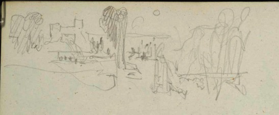 J M W Turner Heidelberg Castle and Town from the end of the Garden Terrace: Sunset, 1844 Graphite on paper, page size 109 x 170 mm Detail from the Spires and Heidelberg sketchbook, Tate, London, D29796; Turner Bequest CCXCVII 13 as 'Heidelberg from the East' The main objective of Turner's 1844 pencil sketches at Heidelberg seems to have been to work out a composition of the sun setting from the terrace. This is a very quick memorandum of the northern end of the terrace, from a quite precarious position just beyond it. His idea seems to have been to find a viewpoint that enabled him to take in the celebrants as well as the setting. Photo courtesy of Tate To view this image in Tate's own catalogue of the Turner bequest, click on the following link, and use your browser's 'back' button to return to this page. http://www.tate.org.uk/art/artworks/turner-heidelberg-from-the-east-d29796