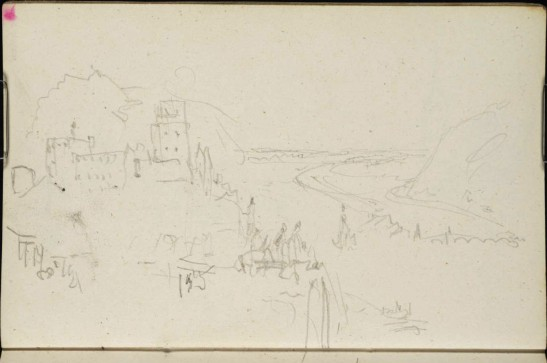 J M W Turner Heidelberg Castle and Town from above the end of the Garden Terrace, 1844 Graphite on paper, page size 109 x 170 mm From the Spires and Heidelberg sketchbook, Tate, London, D29799; Turner Bequest CCXCVII 14a as 'Heidelberg: The Castle and Town from the East' This is a slightly more relaxed study of the end of the garden terrace with its sundown celebrants. The exact view is no longer photographable because of the growth of trees. Photo courtesy of Tate To view this image in Tate's own catalogue of the Turner bequest, click on the following link, and use your browser's 'back' button to return to this page. http://www.tate.org.uk/art/artworks/turner-heidelberg-the-castle-and-town-from-the-east-d29799