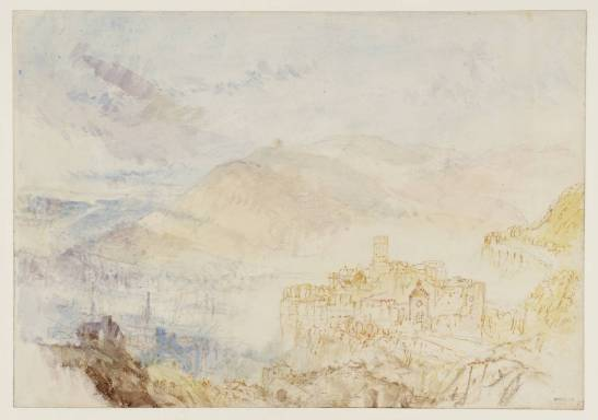 J M W Turner Heidelberg Castle from the South West, 1844 Graphite and watercolour on paper, 229 x 329 mm From the Heidelberg sketchbook, Tate, London, D35235; Turner Bequest CCCLII 15 as 'Heidelberg from the South' This is the first of two studies looking over the castle from the south-west. The octagonal tower stands over the courtyard, with the entrance tower in front to the right, and the garden terrace beyond. The tower in the distance left is the part of the ruins of St Michael's monastery.  This is the most expansive of the two studies, and conditions appear to be cool and perhaps showery, whilst a gleam of mid-afternoon sunlight picks out the castle and the garden terrace. Photo courtesy of Tate To view this image in Tate's own catalogue of the Turner bequest, click on the following link, and use your browser's 'back' button to return to this page. http://www.tate.org.uk/art/artworks/turner-heidelberg-castle-from-the-south-d35235