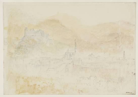 J M W Turner Heidelberg from the Schlangenweg, 1844 Graphite and watercolour on paper, 229 x 329 mm From the Heidelberg sketchbook, Tate, London, D35237; Turner Bequest CCCLII 17 as 'Heidelberg from the Schlangenweg' This is the only occasion on which Turner climbed up the Schlangenweg, the zig-zag path that leads up from the old bridge at Heidelberg to the famous high-level walk, the Philosophenweg. Like the sketch of the Hauptstrasse above this study has no pencil equivalent and must have been painted direct from nature. It is remarkably faintly coloured, as is the details of the town were barely visible, contra-jour in a brilliantly suffused mist. Such conditions might frequently met with in a wet summer, with the damp atmosphere reflecting and refracting the sunlight.  Photo courtesy of Tate To view this image in Tate's own catalogue of the Turner bequest, click on the following link, and use your browser's 'back' button to return to this page. http://www.tate.org.uk/art/artworks/turner-heidelberg-from-the-schlangenweg-d35237