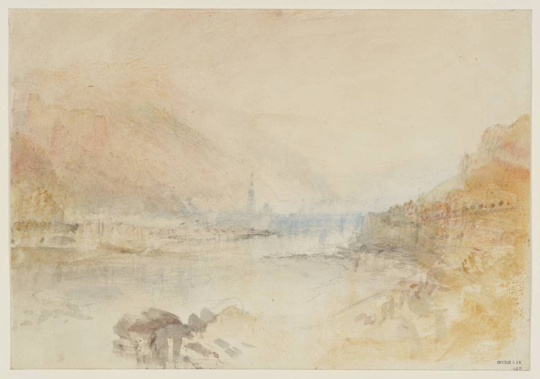J M W Turner Heidelberg from upstream, late afternoon, 1844 Graphite and watercolour on paper, 229 x 329 mm From the Heidelberg sketchbook, Tate, London, D35238; Turner Bequest CCCLII 18 as 'Heidelberg from the Neckar Shore close to the Hirschgasse'. This sketch is the first of three that Turner made in 1844 recording the advance of sunset at intervals from viewpoints upstream of the castle and bridge. Finding a view from this aspect had been a priority for Turner on his first visit in 1833, and in this study he returned to close to the viewpoint of an earlier pencil sketch TB CCXCVIII 19. Here the sun appears to be shining towards us, more-or-less down the line of the river, which would set the time of day as in the late afternoon, but before the sun has sunk low enough to intensify the colour. Photo courtesy of Tate To view this image in Tate's own catalogue of the Turner bequest, click on the following link, and use your browser's 'back' button to return to this page. http://www.tate.org.uk/art/artworks/turner-heidelberg-from-the-neckar-shore-close-to-the-hirschgasse-d35238