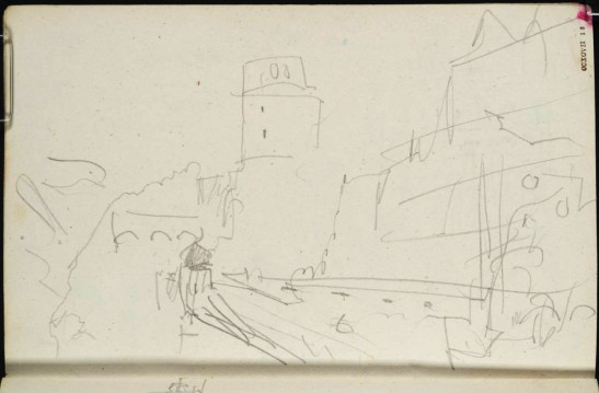 J M W Turner Heidelberg Castle: on the North Terrace, looking east, 1844 Graphite on paper, page size 109 x 170 mm From the Spires and Heidelberg sketchbook, Tate, London, D29805; Turner Bequest CCXCVII 18 as 'Heidelberg Castle: The Bell Tower, Friedrich Building and Altan, and View Eastwards to the Terrace'. Here Turner appears to be leaning out of the little turret at the west end of the Altan, to look back at the garden terrace past the Octagonal Tower. Photo courtesy of Tate To view this image in Tate's own catalogue of the Turner bequest, click on the following link, and use your browser's 'back' button to return to this page. http://www.tate.org.uk/art/artworks/turner-heidelberg-castle-the-bell-tower-friedrich-building-and-altan-and-view-eastwards-to-d29805