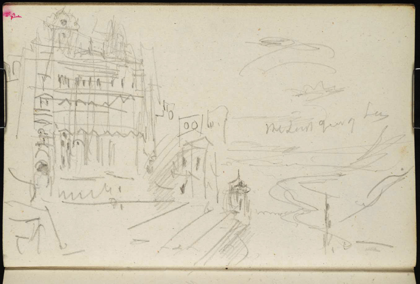 J M W Turner Heidelberg Castle: on the North Terrace, looking west at sunset, 1844 Graphite on paper, page size 109 x 170 mm From the Spires and Heidelberg sketchbook, Tate, London, D29806; Turner Bequest CCXCVII 18a as 'Heidelberg Castle: The Friedrich Building and Altan, and View Westwards down the Neckar Photo courtesy of Tate Here Turner is leaning out of the eastern turret looking west, noting 'the last gleam of the sun'. To view this image in Tate's own catalogue of the Turner bequest, click on the following link, and use your browser's 'back' button to return to this page. http://www.tate.org.uk/art/artworks/turner-heidelberg-castle-the-friedrich-building-and-altan-and-view-westwards-down-the-d29806