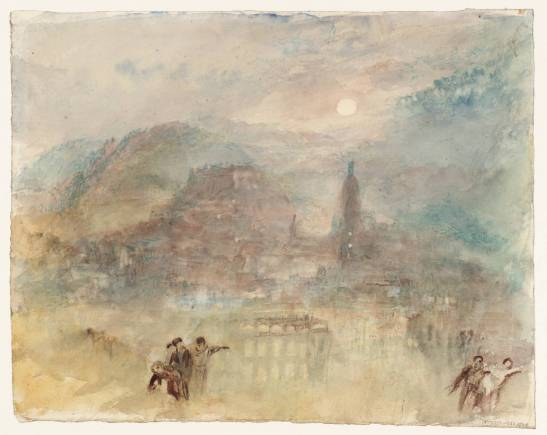 J M W Turner Heidelberg, Moonlight: Sample Study, c.1841 Watercolour on paper, 241 x 300 mm Tate, London, D36183, Turner Bequest CCCLXIV 325 It seems to me to that this must be a study from nature. The moon stood exactly in the same position when I was there on 27 August 2015 Photograph courtesy of Tate To view this image in Tate's own catalogue of the Turner bequest, click on the following link, and use your browser's 'back' button to return to this page. http://www.tate.org.uk/art/artworks/turner-heidelberg-moonlight-sample-study-d36183
