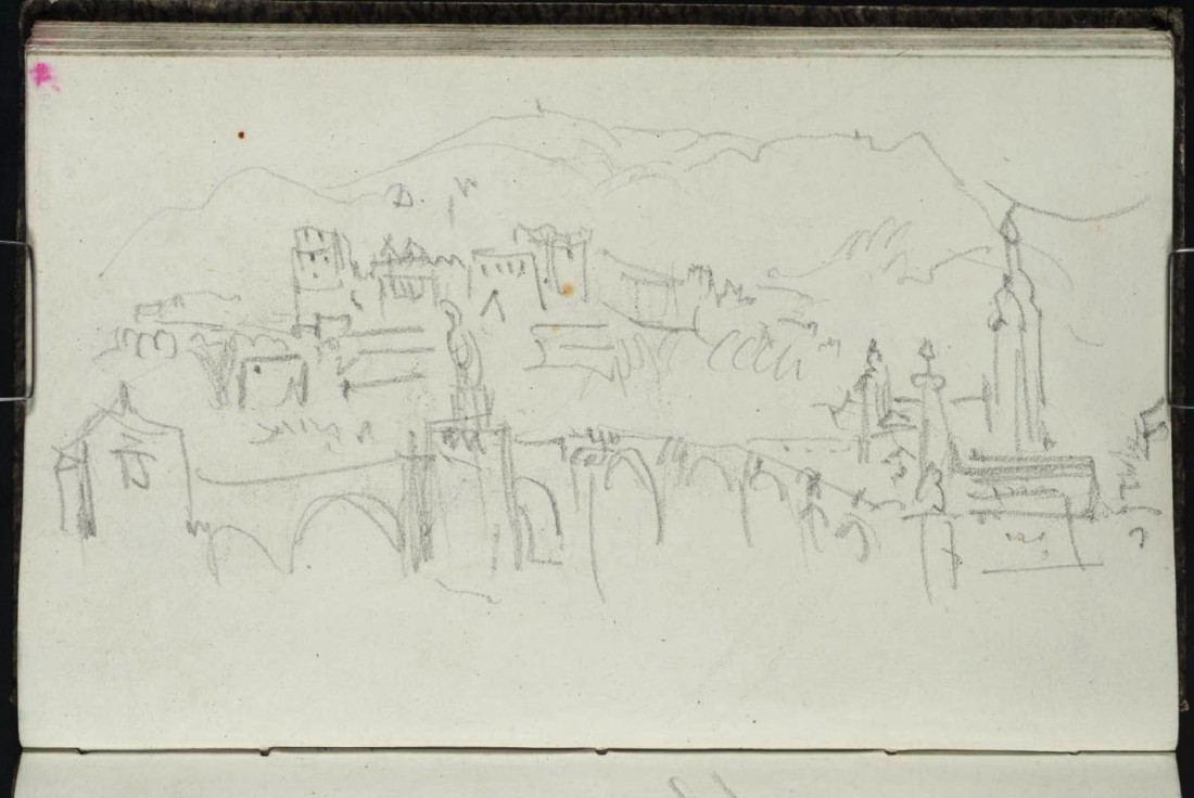 J M W Turner Heidelberg Bridge, Castle and Heiliggeistkirche, 1841 From the Berne, Heidelberg and Rhine sketchbook, Tate, London, D32957; Turner Bequest CCCXXVI 39a as 'Heidelberg'. Photo courtesy of Tate To view this image in Tate's own catalogue of the Turner bequest, click on the following link, and use your browser's 'back' button to return to this page. http://www.tate.org.uk/art/artworks/turner-heidelberg-d32957
