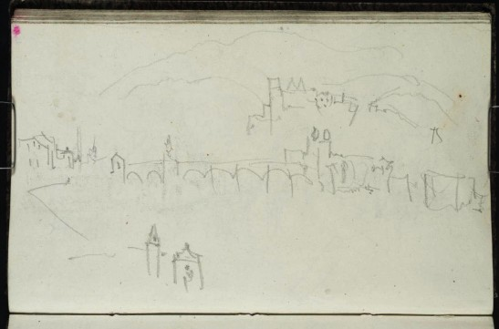 J M W Turner Heidelberg Bridge and Castle, 1841 From the Berne, Heidelberg and Rhine sketchbook, Tate, London, D32959; Turner Bequest CCCXXVI 40a as 'Heidelberg'. This sketch is taken from the same viewpoint as the colour-beginning and the watercolour made for Thomas Prior. Notice the relationship between the octagonal tower and the bridge towers. The Heiliggeistkirche is present to the right, but something of a cipher in this sketch, Turner being interested most in the relationship, rather than in replicating detail that he had recorded previously. Photo courtesy of Tate To view this image in Tate's own catalogue of the Turner bequest, click on the following link, and use your browser's 'back' button to return to this page. http://www.tate.org.uk/art/artworks/turner-heidelberg-d32959