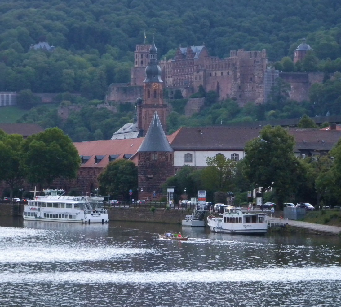 Heidelberg: the octagonal tower, Heiliggeistkirche and Armoury in alignment. Photograph by David Hill, taken 27 August 2015, 17.40 GMT