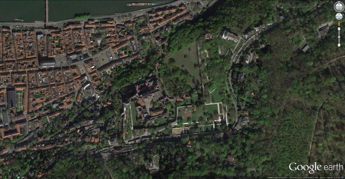 Heidelberg Castle: Google Earth Aerial View Marking the sites of Turner's 1844 sketches in the 'Spires and Heidelberg' sketchbook. Those reproduced here are highlighted. This image is best viewed at full size. Click on image to enlarge and then use your browser's 'back' button to return to this page.